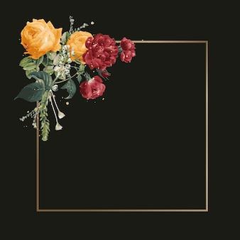Ilustración acuarela de marco decorado floral