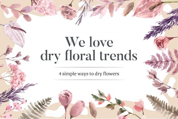 Ilustración acuarela de marco floral seco
