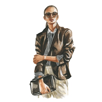 Ilustración acuarela de moda de mujer en traje casual de negocios con taza de café en la mano. pintura dibujada a mano de traje elegante. mirada de lujo
