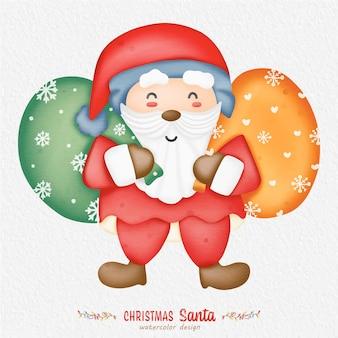 Ilustración acuarela de navidad santa claus, con un fondo de papel. para diseño, estampados, tela o fondo. vector de elemento de navidad.