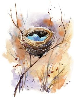Ilustración acuarela de un nido de pájaro con huevos azules escondidos en arbustos