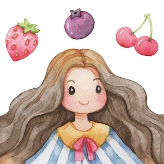 Ilustración acuarela de niña y fruta
