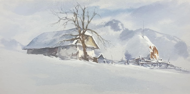 Ilustración acuarela de paisaje de montaña de invierno
