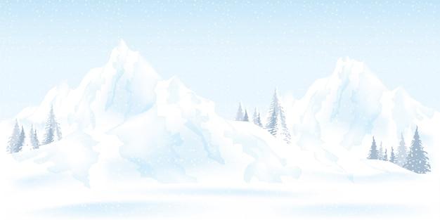 Ilustración acuarela de paisaje de montañas de invierno.