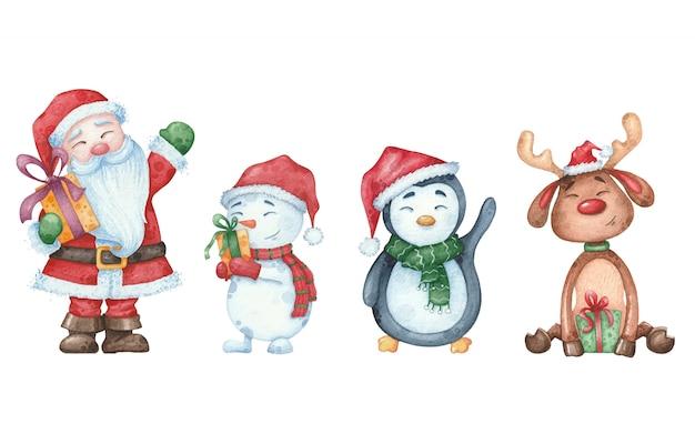 Ilustración acuarela con papá noel, muñeco de nieve, pingüino, ciervo para el diseño de la tarjeta de navidad en blanco aislado