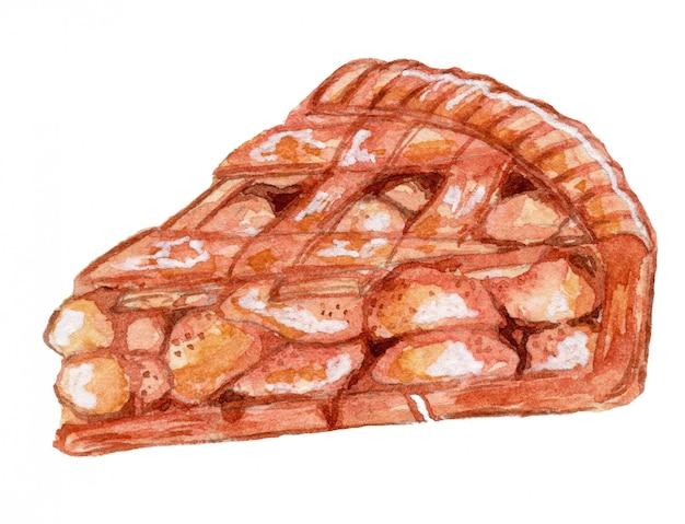 Ilustración de acuarela de pastel de manzana