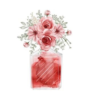 Ilustración de acuarela de perfume y flores rojas