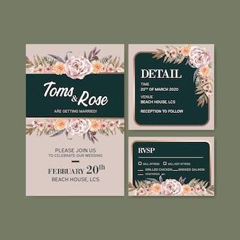 Ilustración de acuarela de plantilla de tarjeta de boda floral seca