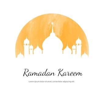 Ilustración acuarela de ramadan kareem con mezquita