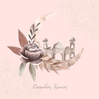 Ilustración acuarela ramadan kareem