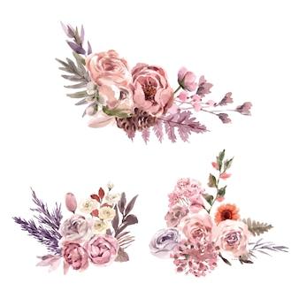 Ilustración acuarela de ramo floral seco con snapdragon, rosa, serbal