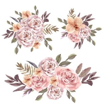 Ilustración acuarela de ramo floral seco
