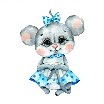 Ilustración acuarela de un ratón de niña de dibujos animados lindo en un vestido azul con un delantal aislado