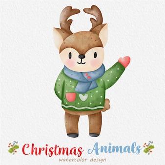 Ilustración acuarela de renos de navidad con el fondo de papel