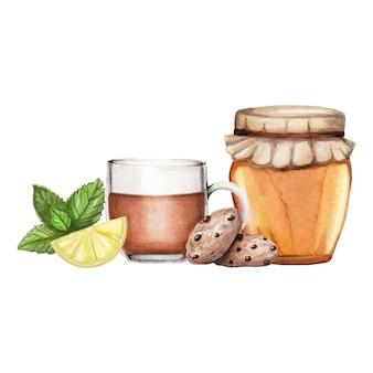 Ilustración acuarela con té, miel y galletas dibujado a mano en blanco