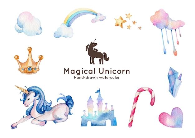Ilustración de acuarela de tema de unicornio