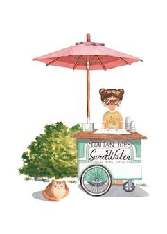 Ilustración de acuarela de verano de carro de refresco dulce