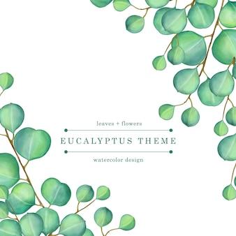 Ilustración acuarela verde eucalipto