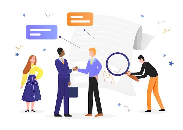 Ilustración de acuerdo comercial, empresario feliz de dibujos animados en la reunión con el socio dándose la mano con el documento de contrato acordado en blanco