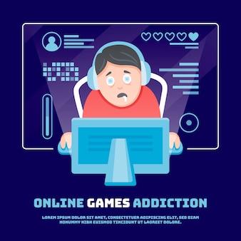 Ilustración de adicción a juegos en línea
