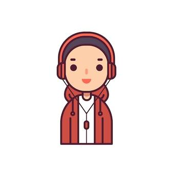 Ilustración adolescente del vector del carácter del avatar de hip hop