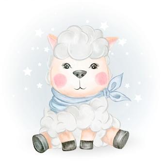 Ilustración adorable de acuarela de oveja bebé
