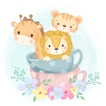 Ilustración adorable de animales de acuarela