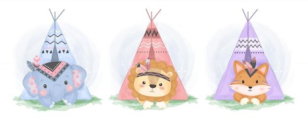 Ilustración adorable de animales boho
