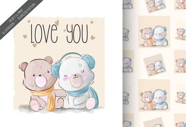 Ilustración adorable lindo bebé oso con patrones sin fisuras
