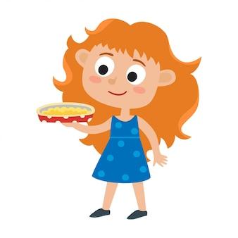 Ilustración de la adorable niña pelirroja en vestido y sabroso pastel en su mano aislado en blanco. ilustración para niños.