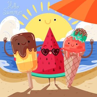 Ilustración adorable de verano hola