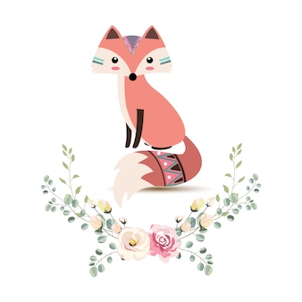 Ilustración adorable zorro tribal