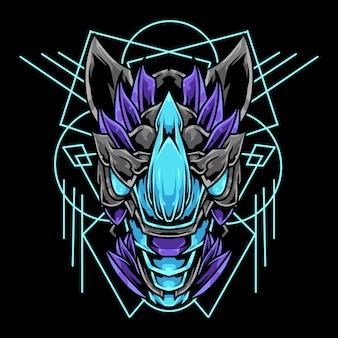 Ilustración de adorno abstracto de cabeza de rinoceronte