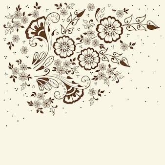 Ilustración de adorno mehndi. estilo indio tradicional, elementos florales ornamentales.