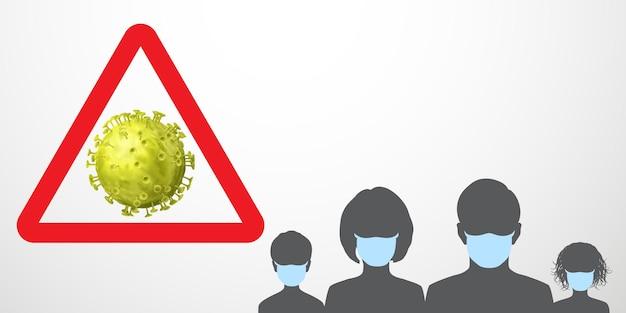 Ilustración de advertencia de coronavirus. signo de precaución - virus en triángulo rojo y siluetas negras de personas con máscaras médicas de color azul claro