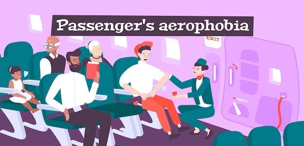 Ilustración de aerofobia del pasajero.