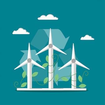 Ilustración de aerogeneradores de molinos de viento