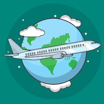 Ilustración del aeroplano alrededor del mundo