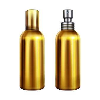 Ilustración de aerosol de perfume de una botella dorada metálica o recipiente con tapa de rociador de plata