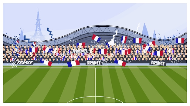 Ilustración de los aficionados al fútbol