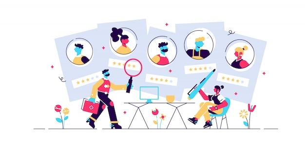 Ilustración de agencia de empleo. plano pequeño empleado headhunters personas concepto. empresa profesional de búsqueda y oferta de servicios. contratación de la industria de la ocupación de recursos humanos. solicitud de cv.