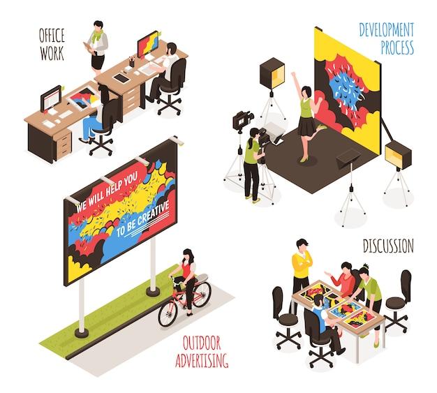 Ilustración de agencia de publicidad con símbolos de proceso de desarrollo isométrico aislado