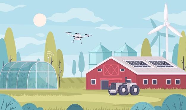 Ilustración de agricultura inteligente