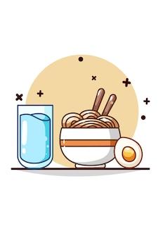 Ilustración de agua mineral, fideos y huevo.