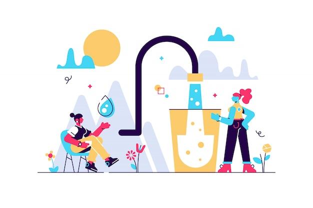 Ilustración de agua mineral de montaña limpia. plano pequeño concepto de personas que beben potable. bebida natural fresca y clara para un medio ambiente sano y seguro. ahorre tierra con puro consumo de líquido.