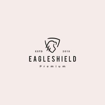 Ilustración de águila escudo doodle logo vector icono