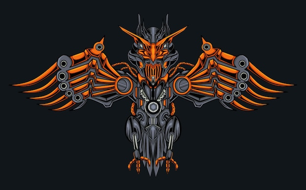 Ilustración de águila mecánica robótica