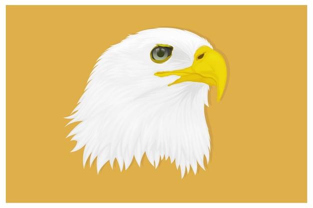 Ilustración de un águila con una mirada aguda hacia el lado del dibujo a mano