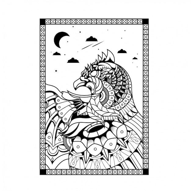 Ilustración de águila, zentangle mandala y diseño de camiseta.