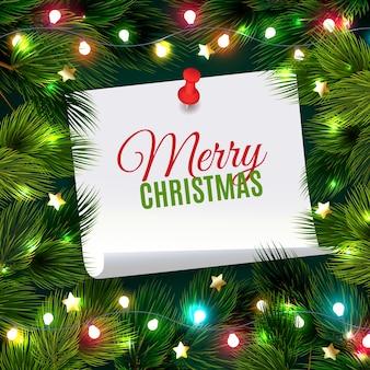 Ilustración de aguja de abeto con nota de navidad